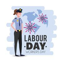 politieagente met uniforme tot arbeidsdag vakantie vector