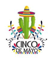 cactusplant met hoed en maracas tot evenement vector
