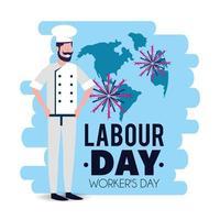 bakker met uniform om dag van de arbeid te vieren vector