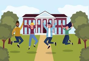 meisjes en jongens springen in de onderwijsuniversiteit