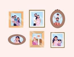set vrouw en man met dochter en zoon foto's