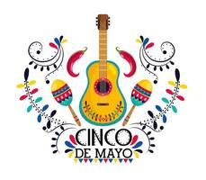 Mexicaanse gitaar met maracas en chilipepers vector