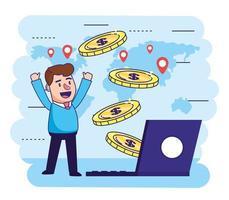 man met elektronische laptop en munten transactie