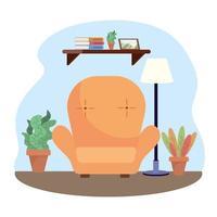 woonkamer met stoel en planten decoratie vector