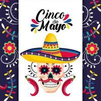 Mexicaanse kaart met schedel decoratie en hoed vector