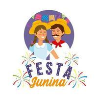 vrouw en man waering hoed naar festa junina