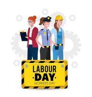 professionele werknemers met uniform tot dag van de arbeid vector