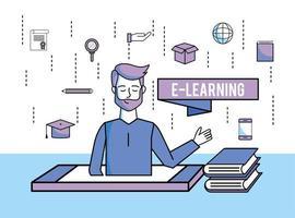 man met onderwijsboeken en smartphonetechnologie vector