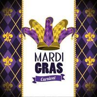 kaart met jokerhoed en embleem voor mardi gras-evenement