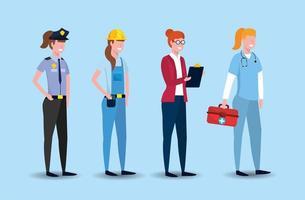 stel werknemersmensen in op dag van de arbeid vector