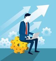 professionele zakenman met laptoptechnologie en versnellingen vector