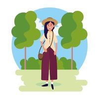 vrouw draagt hoed met tas en bomen met struiken