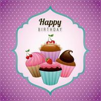 Verjaardag ontwerp op paarse achtergrond