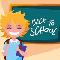 schattige kleine student jongen in poster terug naar school