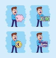 man met elektronische en digitale transactie instellen