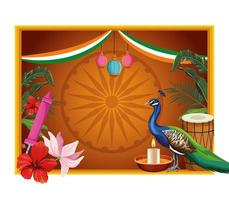 Indiase patriottische frame kaart banner