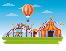 Circus eerlijke festival landschap cartoon vector