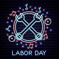 neon dag van de arbeid-kaart met sleutels vector
