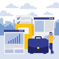 zakenman leunend op werkmap met documenten, map en rapporten
