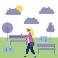 blond meisje, luisteren naar muziek in het park vector