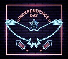 Amerikaanse onafhankelijkheidsdag neon bord met adelaar en vuurwerk vector