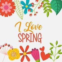 ik hou van lente gekleurde bloemen grens vector