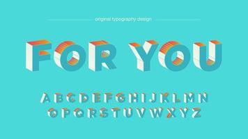 Oranje lichtblauw 3D vet typografieontwerp