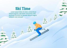 Wintersport activiteit, een man skiën in bergen resort.