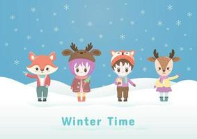Kerst cartoon dierlijke karakters op de winter achtergrond.