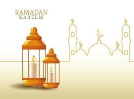 ramadan kareem met lantaarn en moskeevorm