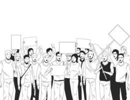 groep mensen met uithangbord in zwart en wit