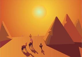 Sahara woestijn Cairo Egypte illustratie van een warm landschap.