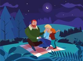 ouders met zoonfamilie in natuurlijk nachtlandschap