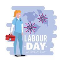 vrouw arts met eerste hulp op dag van de arbeid vector