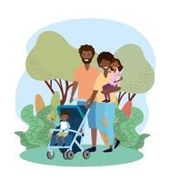 gelukkige man en vrouw met hun zoon in de kinderwagen