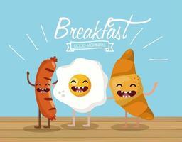 vrolijke worstjes met gebakken ei en croissant