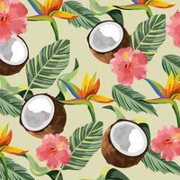 tropische bloemen met kokosnoot en bladerenachtergrond