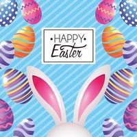 Het gelukkige konijn van Pasen Pasen met eierendecoratie en embleem