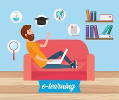 man met laptoptechnologie en boekenkennis
