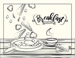 Schets stijl ontbijt poster vector