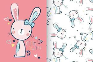 Hand getekend schattig konijntje met patroon ingesteld vector