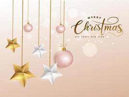 Kerstmisafbeelding op zacht roze versierd met kerstballen en gouden, witte sterren.
