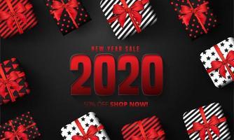 50 kortingsaanbieding voor belettering van het gelukkige nieuwe jaar 2020 vector