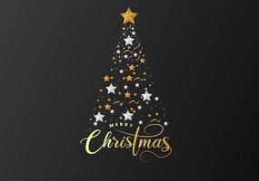 Kerstboom gemaakt van uitgesneden goudfolie en witte papieren sterren