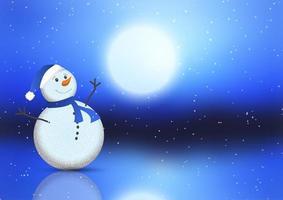 Kerstmisachtergrond met leuke sneeuwman