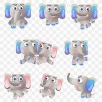 Cartoon olifant met verschillende poses en uitdrukkingen. vector