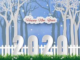 Gelukkig nieuw jaar 2020 met wintertijdachtergrond