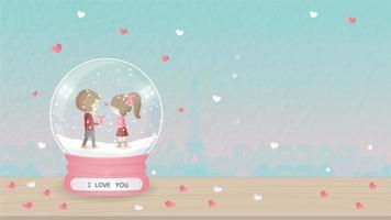 Ik hou van je groet met cartoon jongen en meisje