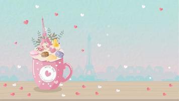 Decoratieve koffiekopje en Eiffeltoren vector