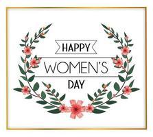 Womens dag feest met bloemen en bladeren vector